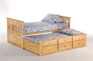 The 'Captins Bed' style sits taller than a regular Day bed, and has both a Trundle and Drawers for storage!
