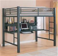 Sturdy wood and metal work stations with twin and full bunks. Only Hardwood