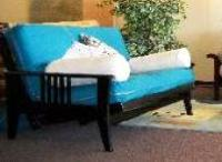 This futon  Lounger has a 2 piece mattress, available in Chair, Twin and Full size