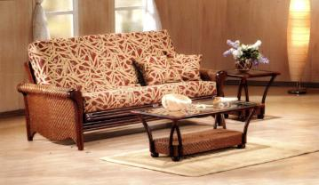 We have a couple styles of Rattan with unique matching coffee tables and end tables.